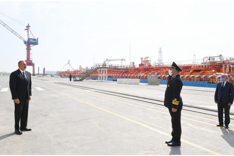 "President Ilham Aliyev attended ceremony to launch ""Kalbajar"" oil tanker"