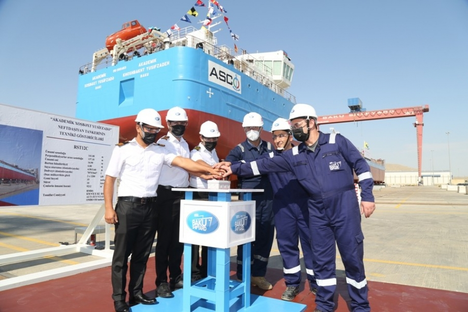 """Tanker """"Khoshbakht Yusifzade"""" Was Launched on the Day of Oil Workers"""
